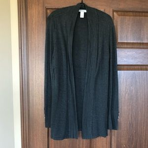 WHBM charcoal gray open long cardigan